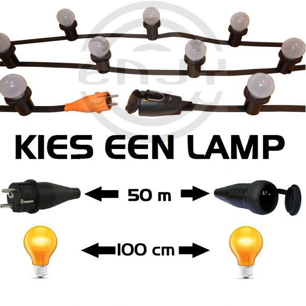 Prikkabel LED 50 meter met 50 warm witte lampen